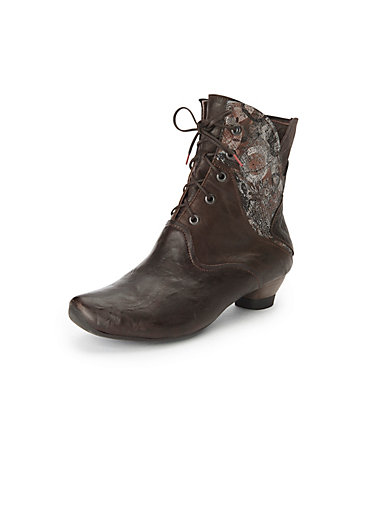 18130bc90f08b6 Think! - Lace-up ankle boots in 100% leather - brown-metallic