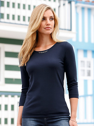 ZAIDA - Top with 3/4-length sleeves and boat neckline
