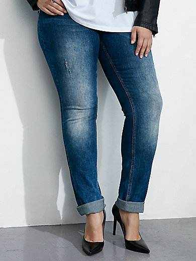 """zizzi - """"Nille Slim"""" jeans with a button fastening"""