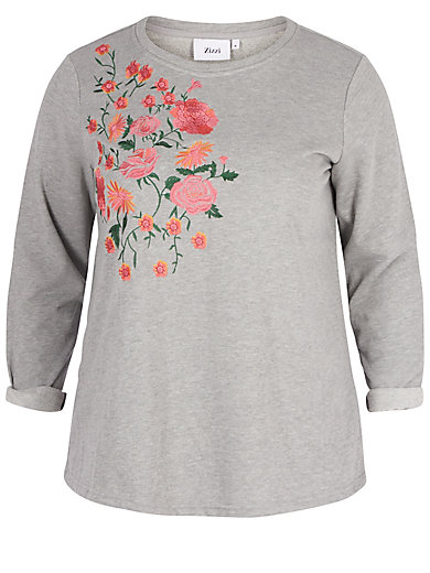 zizzi - Sweatshirt mit Stickerei